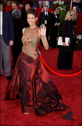 One of my faves is an Elie Saab creation worn by Halle Berry during the 2002 Oscars