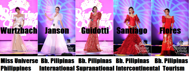 If Madame Stella had her way, this is how the Top 5 would most likely appear in ranking. (Photo credit: Bruce Casanova for Bb. Pilipinas)