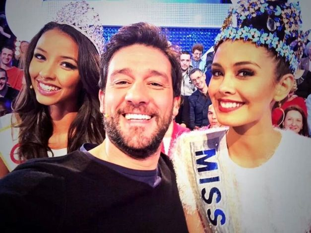 Miss World 2013 Megan Young (right) guesting on a French TV show with Miss France 2014 (left)