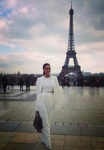 In Paris, MW2013 Megan Young poses with the Eiffel Tower in the background.