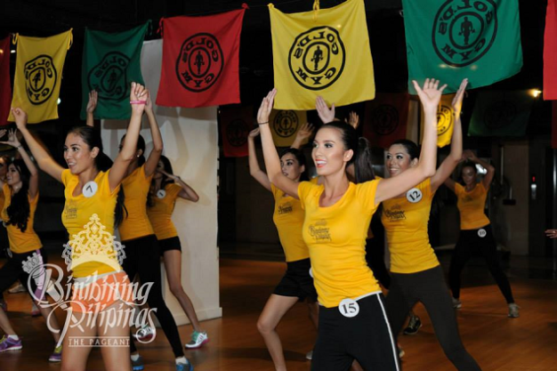 It's not very often that we see Kimverlyn (front, right) in such a joyous shot like the one above. She should regularly do Zumba. (Photo credit: Bruce Casanova for Bb. Pilipinas)