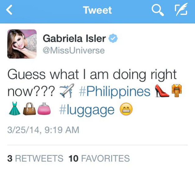 Miss Universe 2014 Maria Gabriela Isler tweeting her upcoming trip to the Philippines.