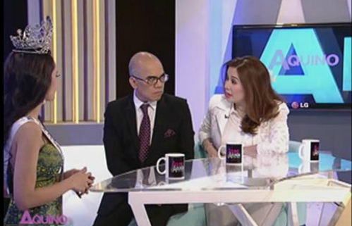 Bb. Pilipinas Intercontinental 2014 Kris Tiffany Janson (left) being interviewed on Aquino & Abunda Tonight (Photo credit: ABS-CBN Online)