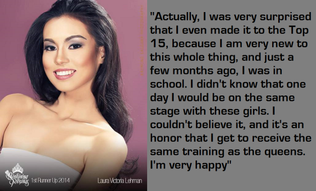 The quotes from Laura Lehmann were lifted from the Press Release provided by Bb. Pilipinas (Photo credit: Raymond Saldana)
