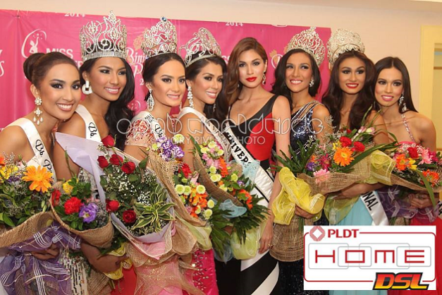 (L-R) 2nd RU Hannah Ruth Sison, Bb. Tourism Parul Shah, Bb. Intercontinental Kris Tiffany Janson, Miss Universe Philippines MJ Lastimosa, Miss Universe 2013 Maria Gabriela Isler, Bb. International Mary Anne Bianca Guidotti, Bb. Supranational Yvethe Santiago and 1st RU Laura Lehmann (Photo credit: Jory Rivera)