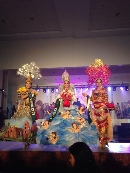 (L-R) Vigan, Cebu City and Tampilisan won Bronze, Gold and Silver (respectively) during MPE2014's Cultural Costume Competition