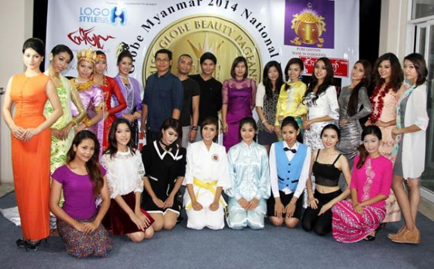 Mario, Macoy and Pawee (standing 6th, 7th and 8th from left) posing with the Miss Globe Myanmar 2014 candidates during the training they conducted in Yangon last March. (Photo credit: Macoy Manlapaz)