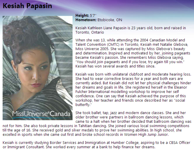 Kesiah on the Miss Universe Canada website