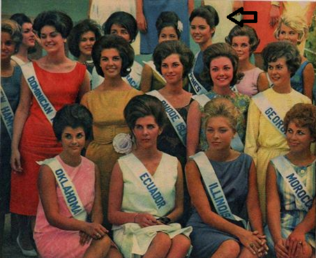 Miss Philippines Lalaine Bennett (with arrow pointed to her) during Miss Universe 1963 where she placed 3rd Runner-Up.(Photo shared by Mike Herrera)