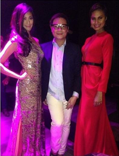 Jonas Gaffud (center) with two of his muses Ariella Arida (left) and Venus Raj at 71 Gramercy for Mercator's 10th Anniversary Fashion Ball