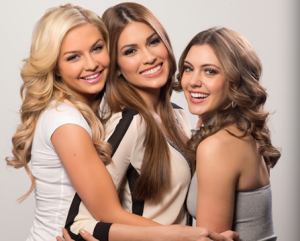 Miss USA 2013 Erin Brady (right) with MU2013 Gabriela Isler (middle) and Miss Teen USA 2013 Cassidy Wolf