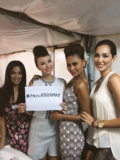 Valerie Weigmann (2nd from left) with (L-R) Ara Arida, Venus Raj and Bea Rose Santiago promoting #MusiKARAMAY