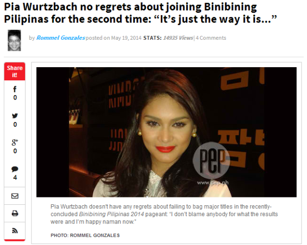 If you are a Pia Wurtzbach fan, then you should read her interview on PEP.ph