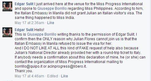 Screencap of the informal statement from Giuseppe Borillo of Miss Progress International