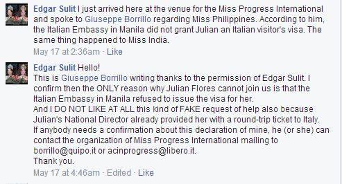 Screencap of the informal statement from Giuseppe Borillo of Miss Progress International