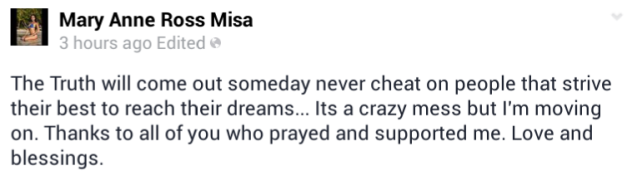 The status update that elicited raised eyebrows on FB.