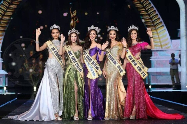 (L-R): First for Intercontinental, Sasi for Earth, Plar for Grand International, Bai Fern for Supranational and Ploy for Tourism International