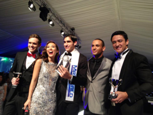 An almost-there victory on pageant night for our bet (l-r) 2nd Runner-Up Leo Delaney of Ireland, host Myleene Klass, Mr. World 2012 Francisco Escobar Parra of Colombia, host Kamal Ibrahim and 1st Runner-Up Andrew Wolff of the Philippines.