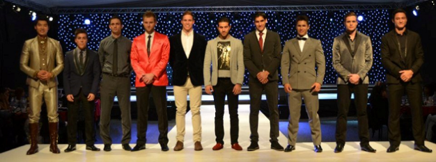 Andrew (rightmost) with the nine other candidates who made Top 10 during the finals of Mr. World 2012.