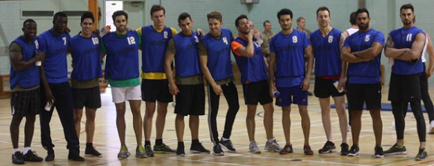 Mr. Philippines John Spainhour (4th from right) and the other members of the Blue team.