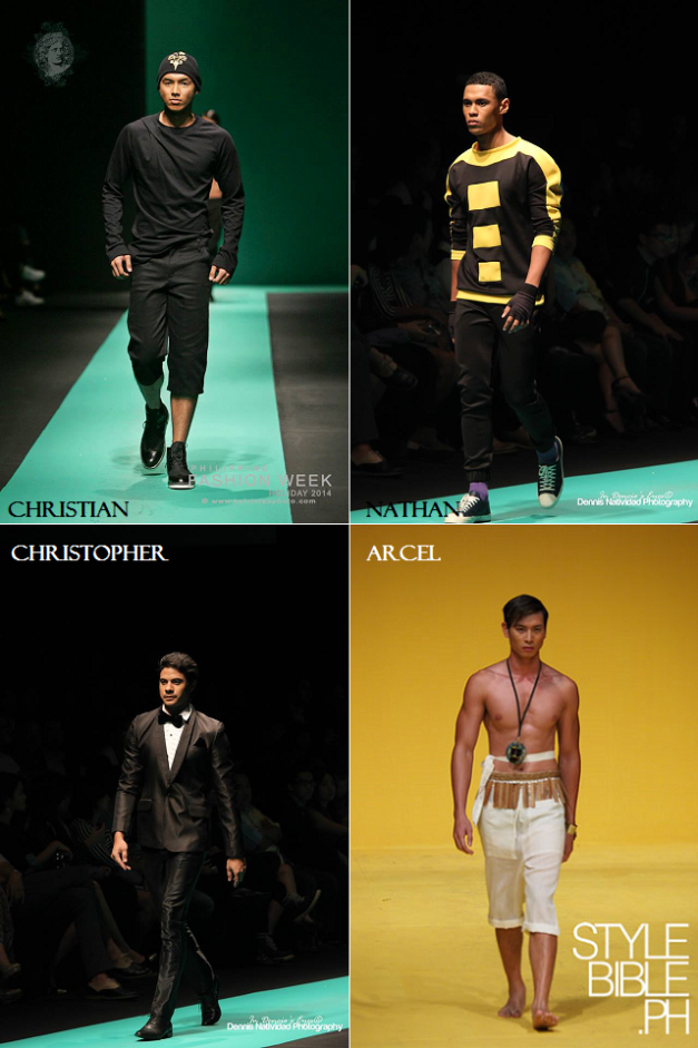 Four of the five male Bodyshots Philippines 2014 candidates during the last Philippine Fashion Week Holiday 2014 (Photo credits: stylebible.ph and Dencio Natividad)