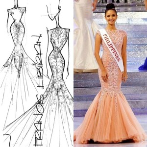 The sketch (left) and final piece of Miss World 2013 Megan Young's victory dress last year.