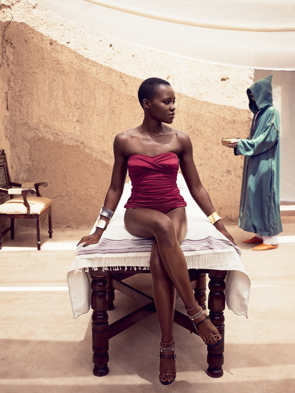 Lupita Nyong'o from the lens of Mikael Jansson on the inside pages of Vogue.