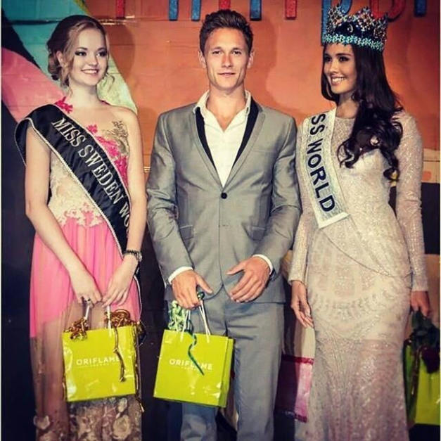 (Left to right): Miss World Sweden 2014 Olivia Asplund, Mr. World 2014 Nicklas Pedersen and Miss World 2013 Megan Young