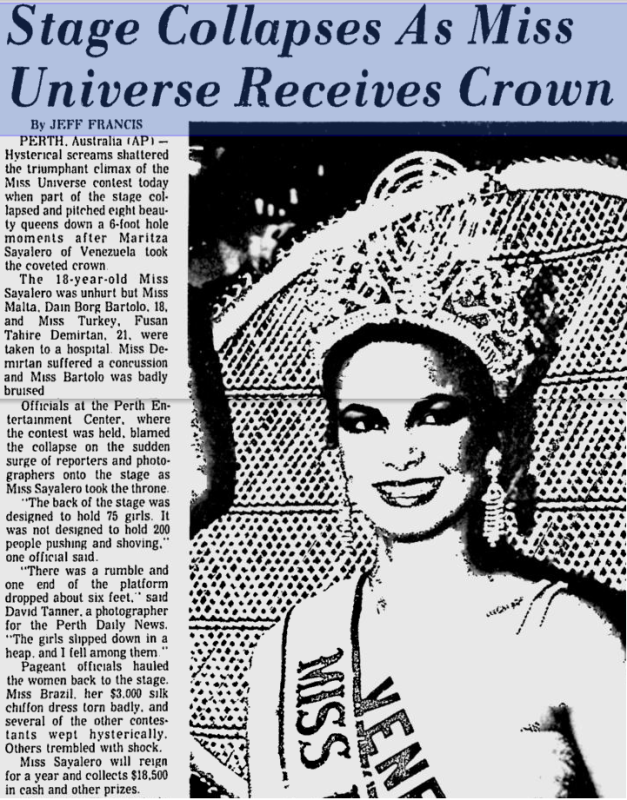 The news item on Page 4 of the Sumter Daily last July 20, 1979 reporting the stage collapse that somehow overshadowed Venezuela's first Miss Universe win courtesy of Maritza Sayalero.