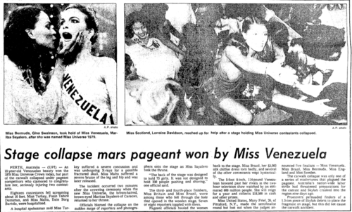 Another news item back in 1979 which showed a photo of some of the ladies who fell off the stage including Miss Scotland Lorraine Davidson.