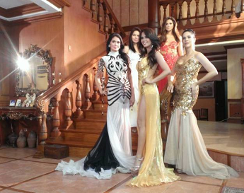 Miss Grand International 2013 3rd RU Ali Forbes (center in golden yellow gown) will also join the four other ladies as mentors