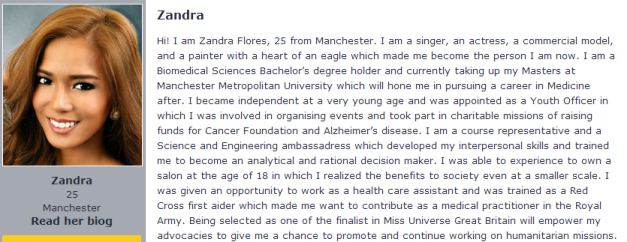 Zandra Flores on the pageant website