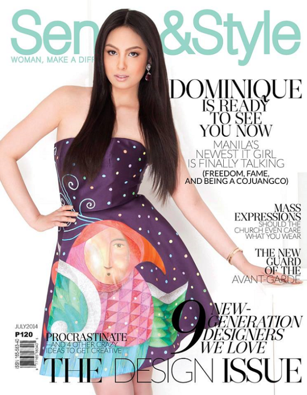 Dominique Cojuangco on the July 2014 cover of Sense & Style (portraits Shaira Luna/ creative direction Hector M. Reyes/ makeup Albert Kurniawan/ hair Mark Familara/ styling Ieth Inolino/ shot on location at Poliform Showroom, Makati/Tube dress by Eric delos Santos/art by Francis Nacion/ and earrings by The Aziza Collection)