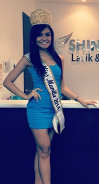 Miss Manila 2014 KC Halili posing in front of one of her charity sponsors, Shinagawa Lasik & Aesthetic Center.