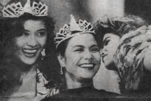 Lorna (middle) when she won Miss Asia-Pacific 1989 with runners-up from Tahiti and Israel.