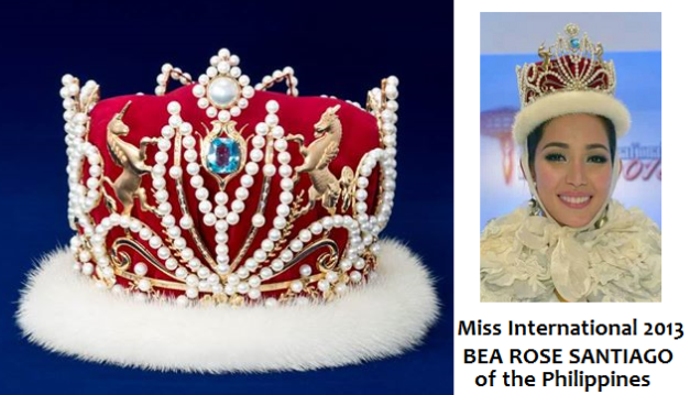 The Mikimoto-encrusted crown of Miss International and the reigning titleholder, Bea Rose Santiago.