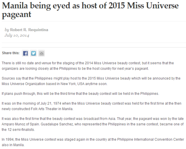 The news article by Robert Requintina posted on the Manila Bulletin website stating the possibility of Miss Universe being held in Manila next year.