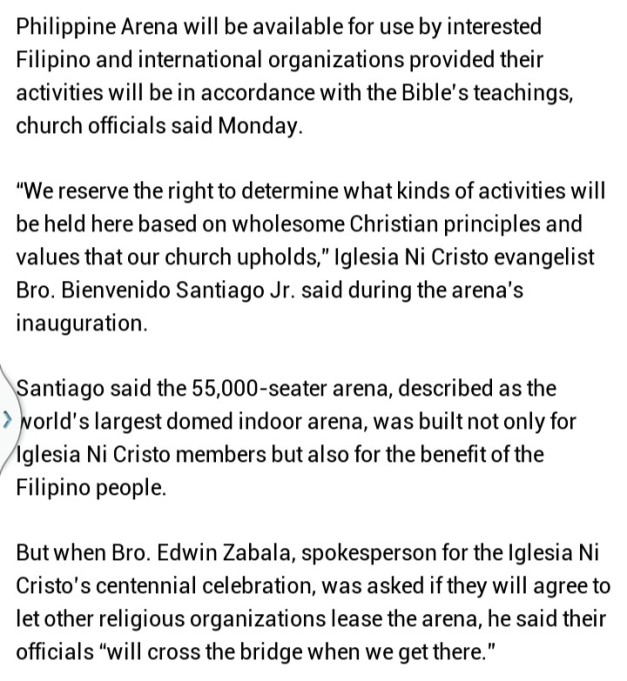 An excerpt from the GMA News report about the Philippine Arena