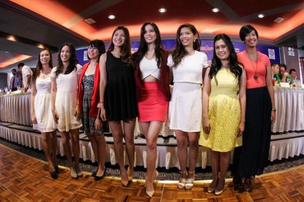 (L-R) Kristelle Batchelor (UST), Gabby Dario (UP), Tricia Robredo (NU), Jeanine Tsoi (DLSU), Laura Lehmann (AdMU), Gianne  Llanes (AdamsonU), Nicole Yu (FEU) and Yvete Din (UE). (Photo credit: Yahoo Philippines)