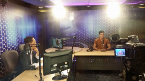 Neil (right) guesting on Danton Remoto's radio program