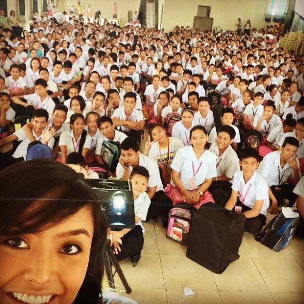 Miss Manila 2014 KC Halili during her talk in front of the students of Raja Soliman Science & Technology High School