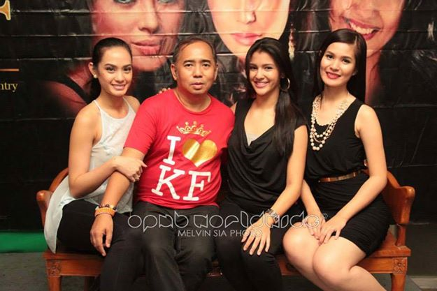 Proud of his KF Queens, Rodgil Flores (second from left) poses with (left-to-right); Bb. Pilipinas Intercontinental 2014 Kris Janson, Miss Philippines Earth 2014 Jamie Herrell and Mutya ng Pilipinas Asia-Pacific International 2014 Eva Psychee Patalinjug (Photo credit: Melvin Sia/OPMB Worldwide)