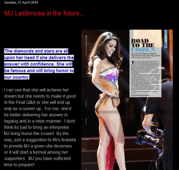 Mang Jose's take on MJ Lastimosa last April 27