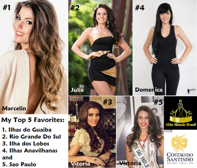 Above is a photo grid of the five ladies I'd like to see fight it off for Miss Mundo Brasil 2014.