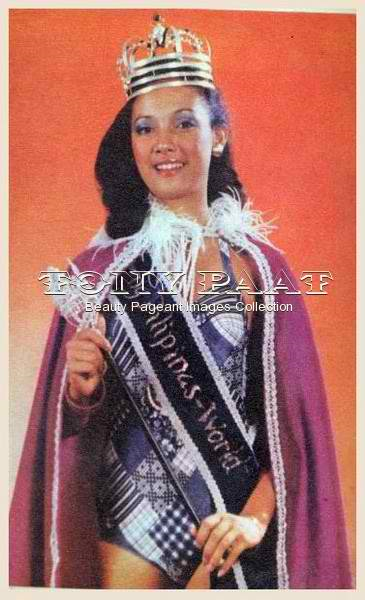 The very first Mutya ng Pilipinas World titleholder back in 1977. She is Anna Melissa Ofilada Veneracion, or more popularly known now as Peachy Veneracion. (Photo credit: Tony Paat)