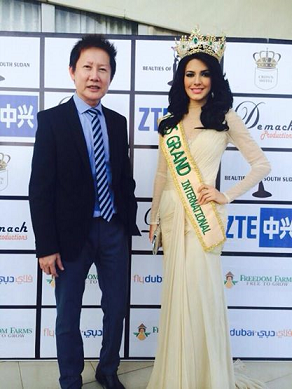 ณวัฒน์ อิสรไกรศีล - Mr.Nawat Itsaragrisil (left) and Miss Grand International 2013 Janelee Chaparro