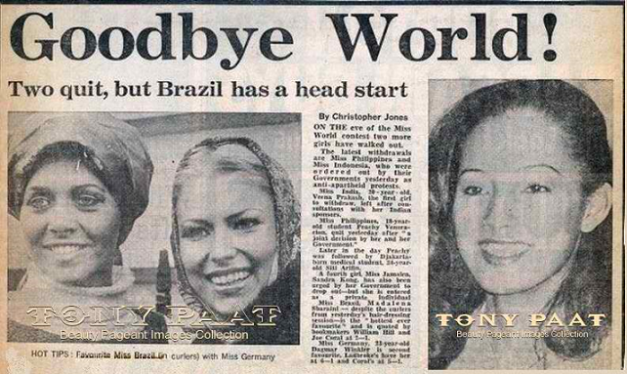 Less than 24 hours before the Miss World 1977 finals in London, Miss Philippines Peachy Veneracion walked out of the competition to express her sympathy with the anti-apartheid protests.