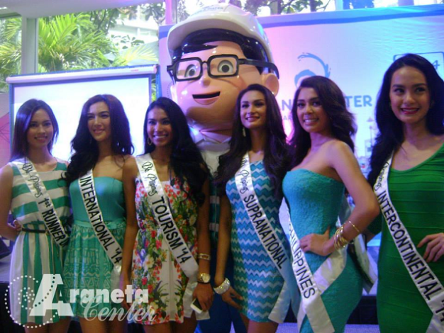 The Bb. Pilipinas 2014 Queens (l-r): 1st RU Laura Lehmann, Bb. Pilipinas International 2014 Bianca Guidotti, Bb. Pilipinas Tourism 2014 Parul Shah, Bb. Pilipinas Supranational 2014 Yvethe Santiago, Miss Universe Philippines 2014 MJ Lastimosa and Bb. Pilipinas Intercontinental 2014 Kris Janson during the Toka-Toka Water Advocacy Campaign at Araneta Center.