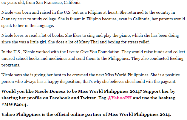 The 411 on Nicole Donesa, with her advocacy highlighted (Photo grabbed from the Yahoo Philippines Readers Choice by Kai Magsanoc)