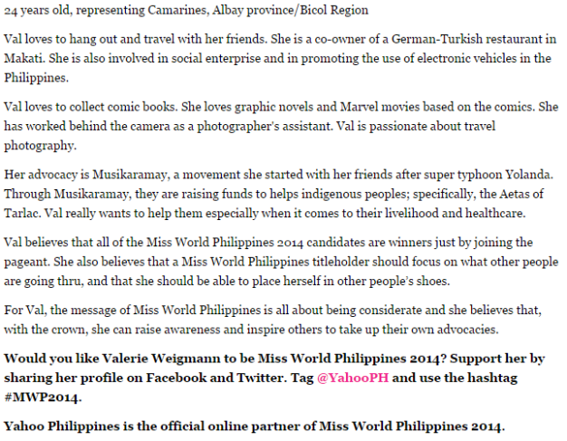 The 411 on Valerie Weigmann, with her advocacy highlighted (Photo grabbed from the Yahoo Philippines Readers Choice by Kai Magsanoc)